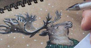 نقاشی هایی از شخصیت های نوستالژیک کارتونی با مدادرنگی