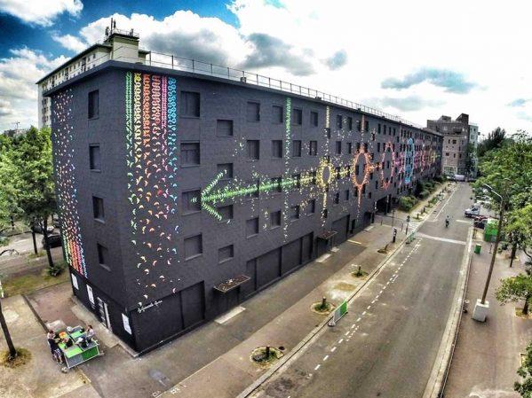 پروژه چرخه قمری با هنر اوریگامی روی ساختمانپروژه چرخه قمری با هنر اوریگامی روی ساختمان