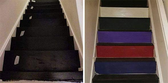 پله های دکور شده با جلد کتاب