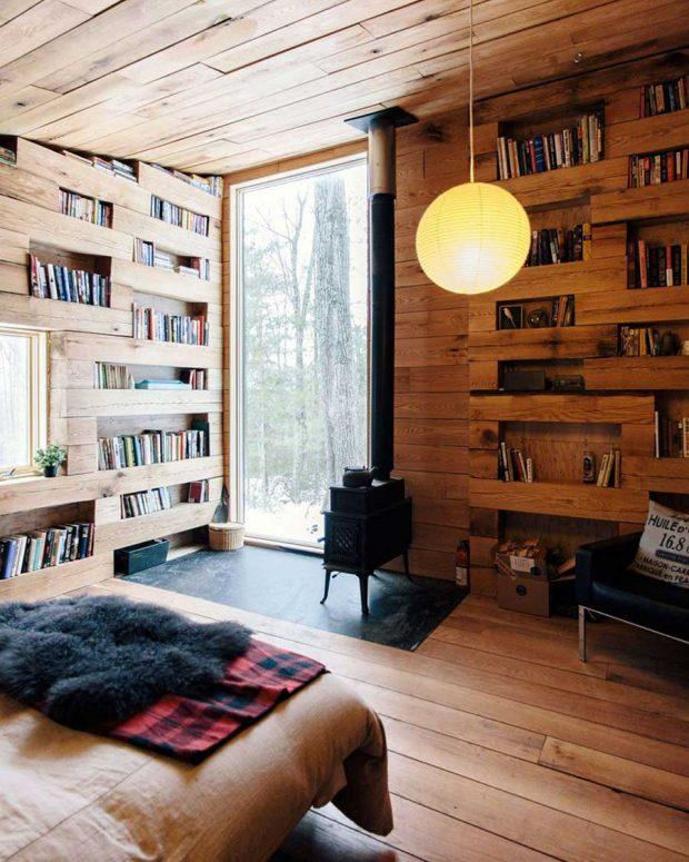 تصاویر شگفت انگیز از یک کتابخانه در جنگلهای نیویورک