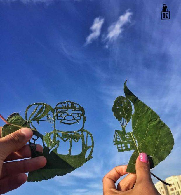 تصاویری از هنر رسم با برگ و طبیعت