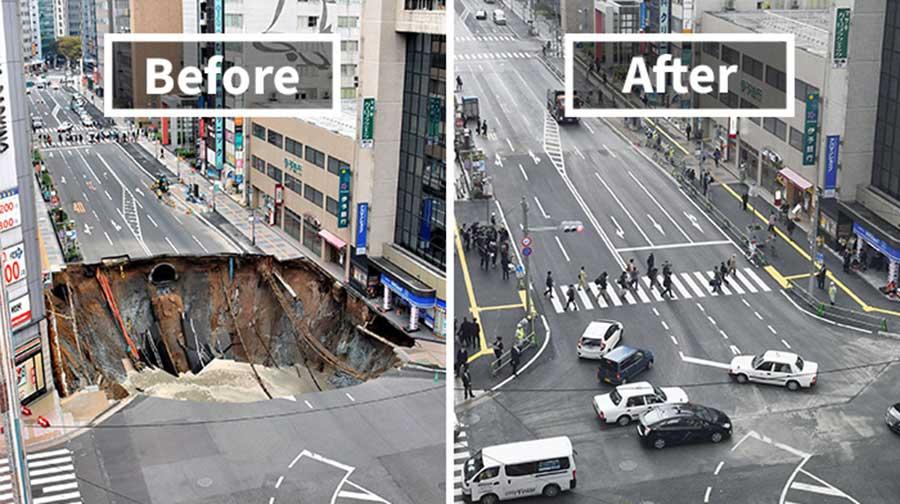 ژاپنی ها در اقدامی عجیب حفره 15 متری را در کمتر از یک هفته پر کردند
