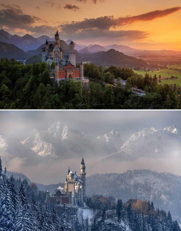 تصاویر دیدنی از مناظر طبیعی قبل و بعد از بارش برف