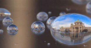 نمای شهر ها در قطره های آب