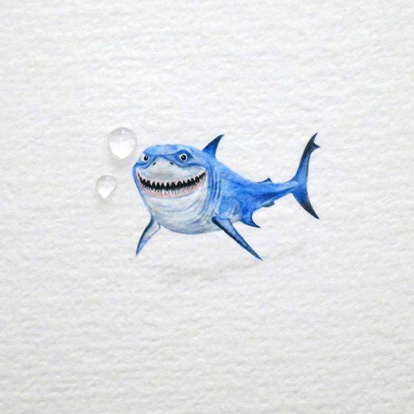تصاویری از نقاشی های بسیار کوچک با آب رنگ
