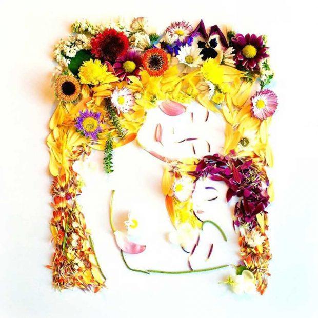 هنرمندی که گلبرگ ها را به نقاشیهایی دیدنی تبدیل می کند